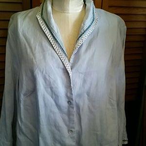Tops - Periwinkle top, Irish linen, hand embellishment